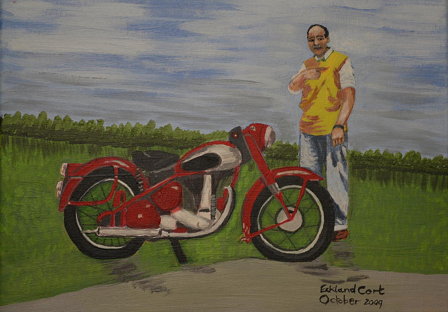 Bike Painting - Mikes Bike by Eckland Cort