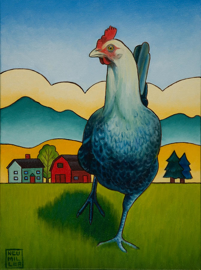 Hen Painting - Mildred by Stacey Neumiller