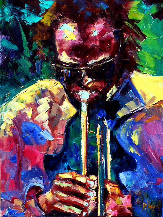 Jazz Painting - Miles And Yellow by Debra Hurd