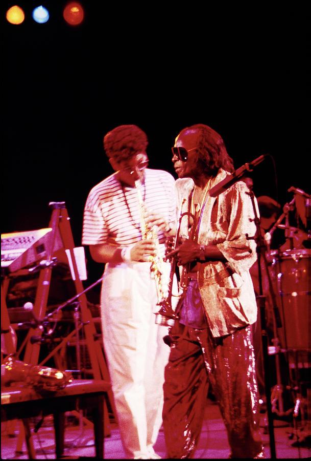 Miles Davis Photograph - Miles Davis Image 10 And Bob Berg 1985 Your Under Arrest Tour by Derek Moore