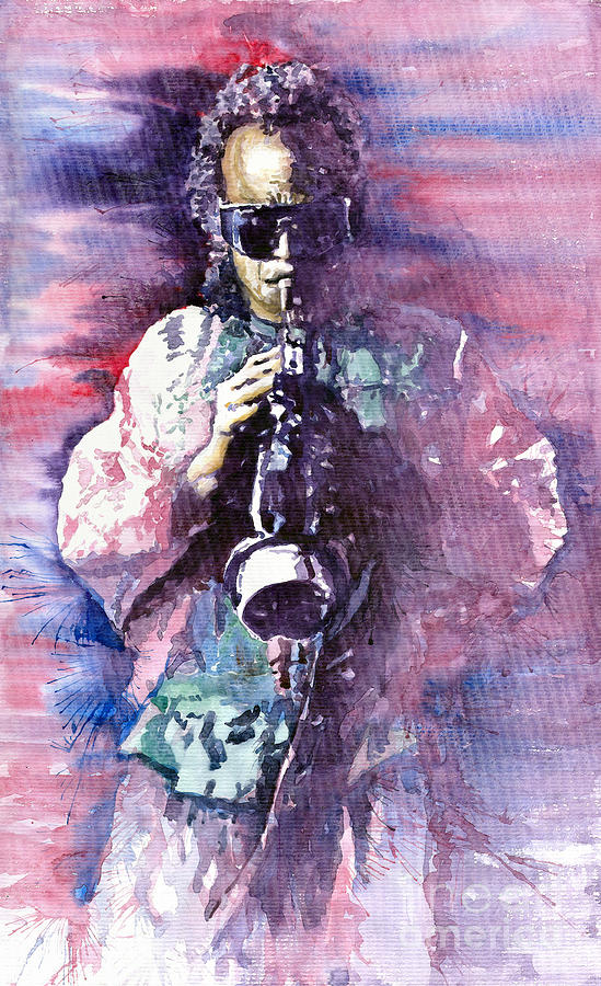 Watercolor Painting - Miles Davis Meditation 2 by Yuriy  Shevchuk