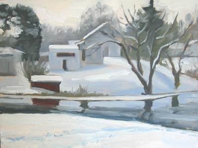Milford Winter Painting by Margie Guyot
