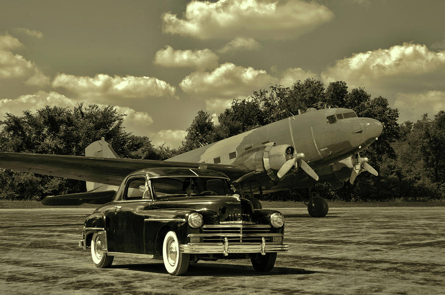 Military C47 and 1949 Plymouth by Tim McCullough