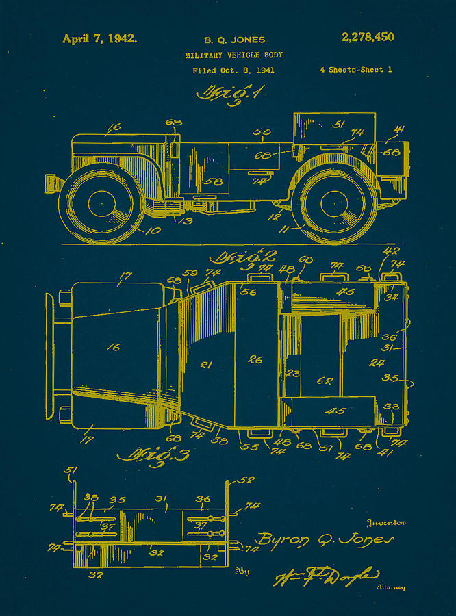 Patent Mixed Media - Military Vehicle Body Patent Drawing 1a by Brian Reaves