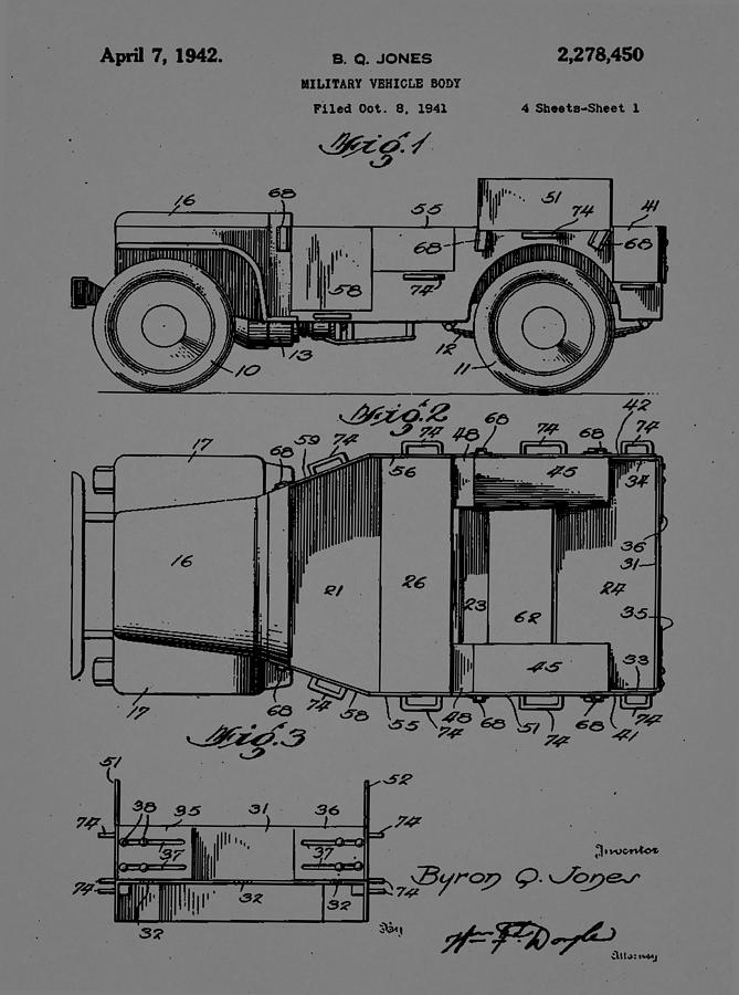 Patent Mixed Media - Military Vehicle Body Patent Drawing 1d by Brian Reaves