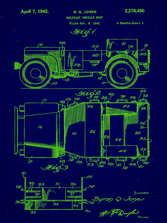 Patent Mixed Media - Military Vehicle Body Patent Drawing 1e by Brian Reaves