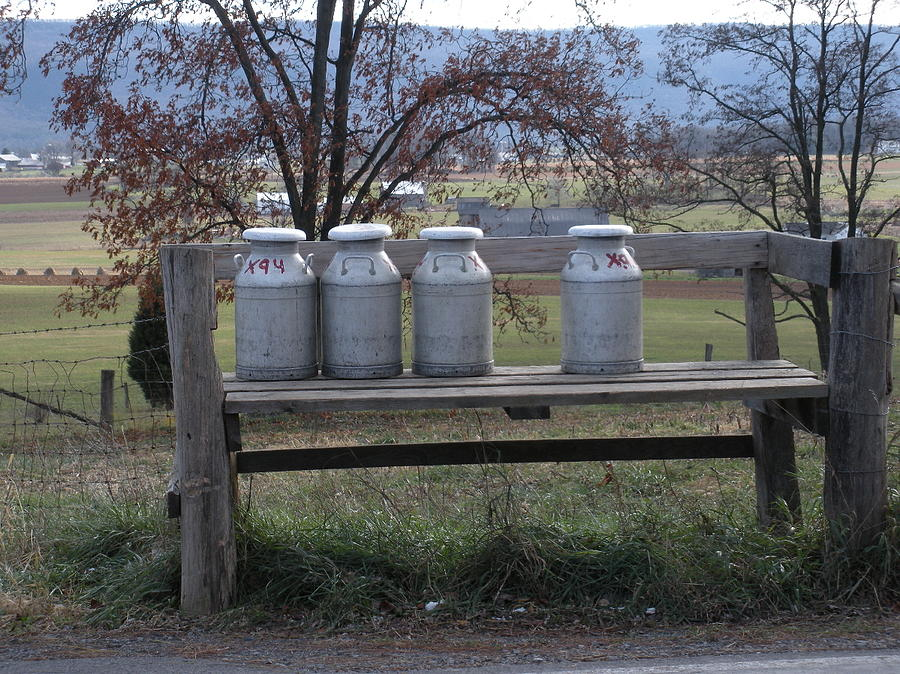 Milk Cans Photograph - Milk Cans Waiting For Pickup by Jeanette Oberholtzer