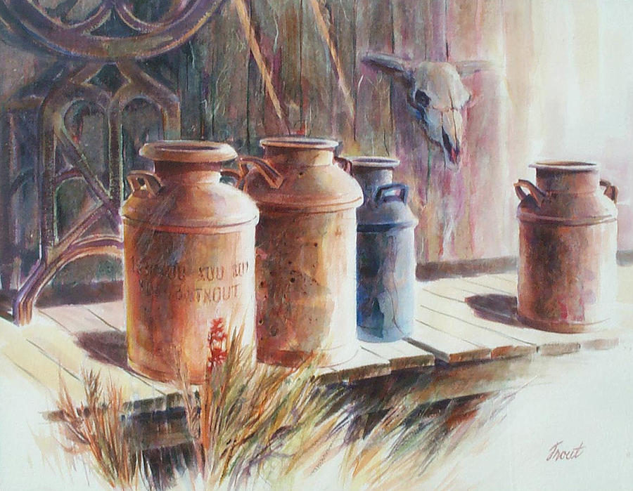 Old Milk Cans Painting - Milk Run by Don Trout