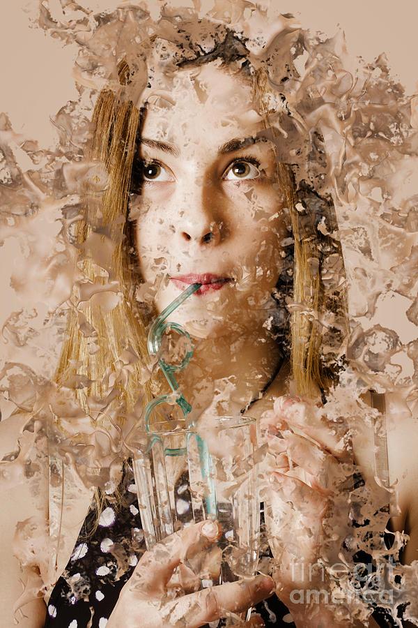 Restaurant Photograph - Milk Shake Pin-up Woman. Restaurant Art  by Jorgo Photography - Wall Art Gallery