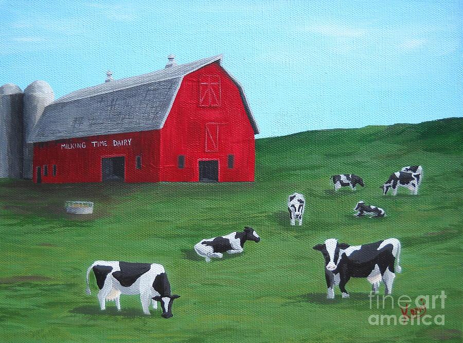 Farm Painting - Milking Time Dairy by Kerri Ertman
