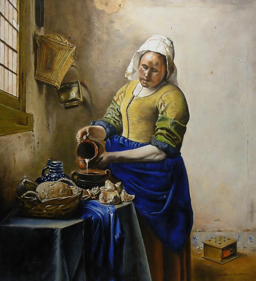Milkmaid acc. Johannes Vermeer Painting by Jan Teunissen