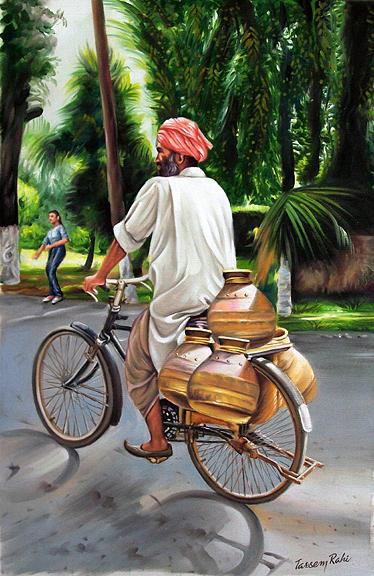 Milkman Painting by Tarsem Rahi
