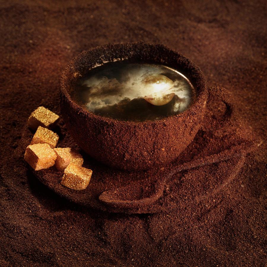 Coffee Photograph - Milky moonlight by Floriana Barbu