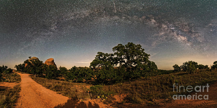Central Photograph - Milky Way Arch Over Enchanted Rock State Natural Area - Fredericksburg Texas Hill Country by Silvio Ligutti
