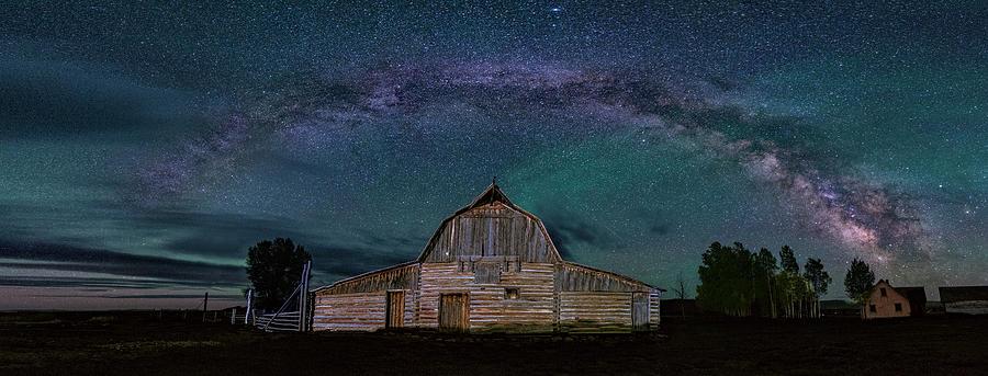 Moulton Barn Photograph - Milky Way Arch Over Moulton Barn by Michael Ash