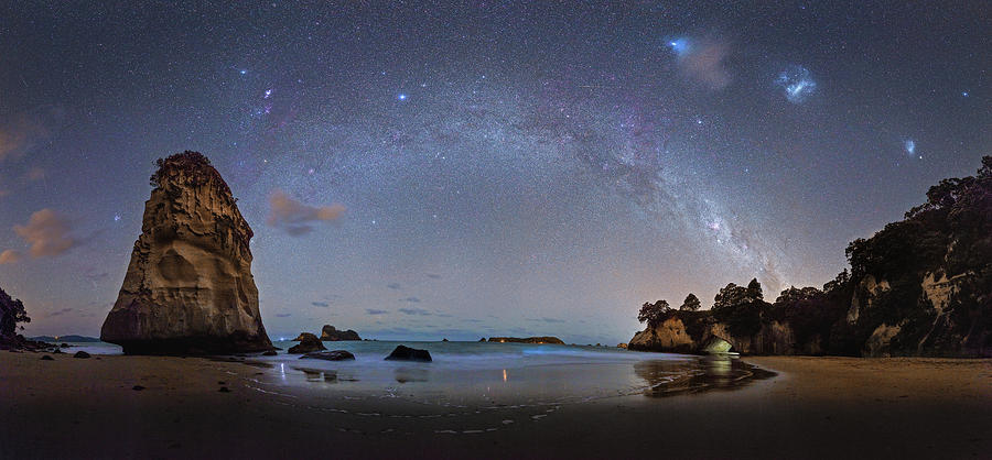 Milky Way Photograph - Milky Way At Cathedral Cove by Alex Conu