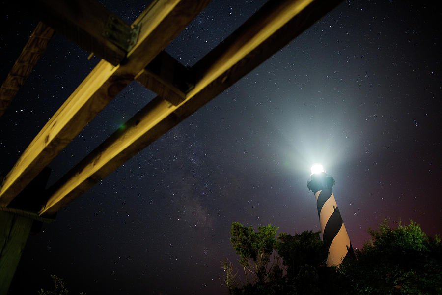 Hatteras Photograph - Milky Way Inside Hatteras Light Pavillon by Daniel Lowe