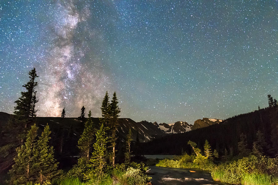 Milky Way Magic Above Longs Lake And The Indian Peaks Photograph