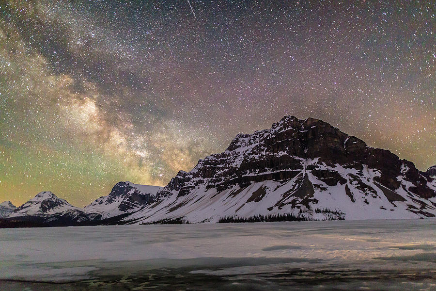 Landscape Photograph - Milky Way over Crowfoot Mountain by M C Hood