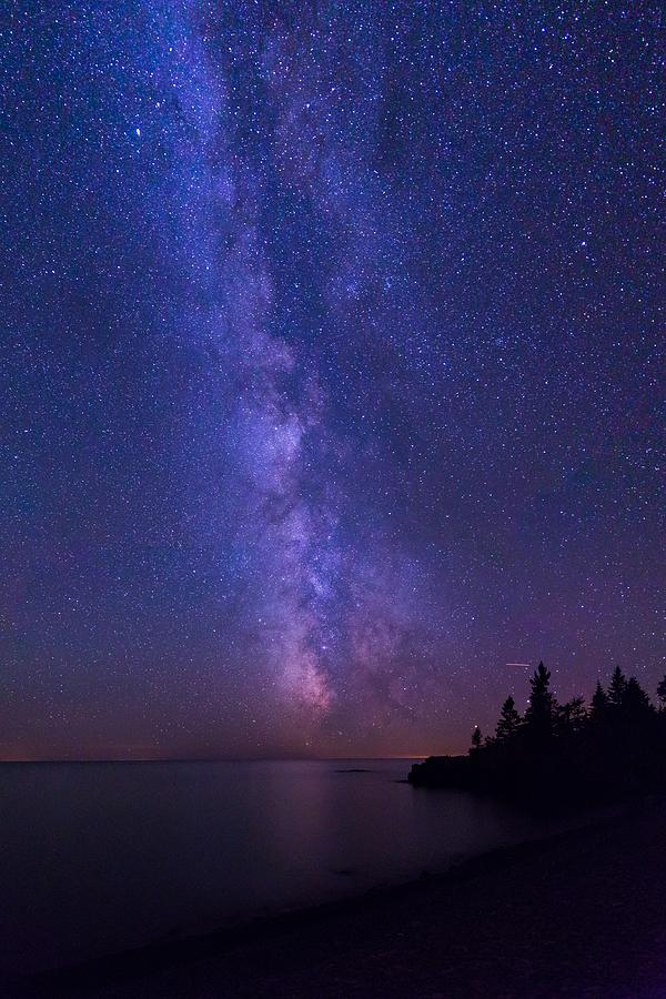 Hollow Rock Photograph - Milky Way Over Lake Superior by Linda Ryma