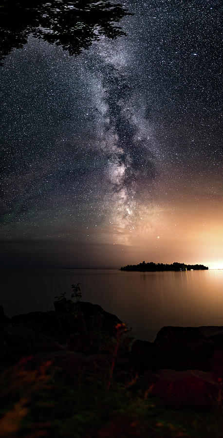 Artistic Photograph - Milky Way Over Mary Island From Silver Harbour Near Thunder Bay by Jakub Sisak