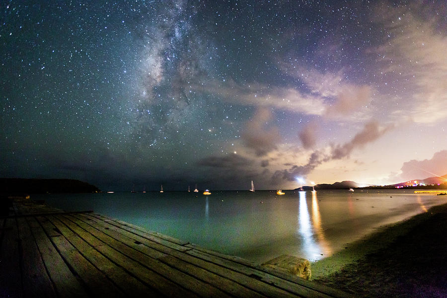 Vieques Photograph - Milky Way Over Sugar Cane Pier by Karl Alexander