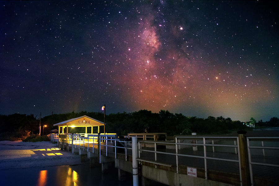 Milky Way Over The Sanibel Pier Photograph by Greg and Chrystal Mimbs