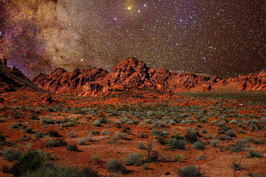 Desert Photograph - Milky Way Rising Over The Valley Of Fire by Charles Warren