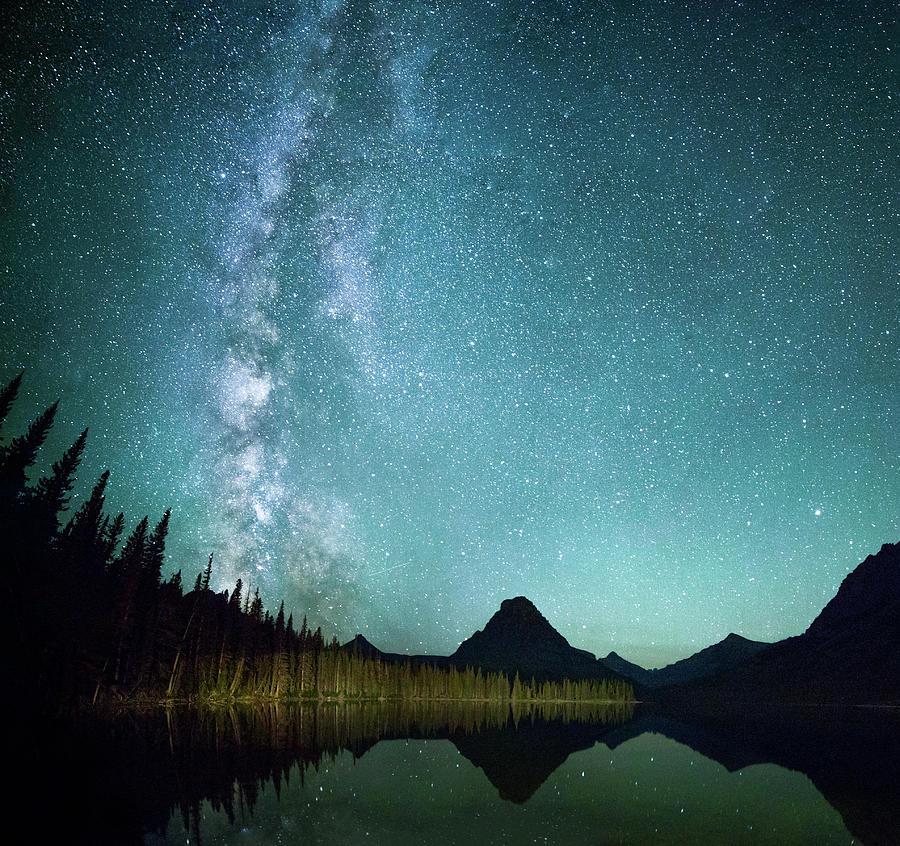 Tree Photograph - Milky Way // Two Medicine Lake, Glacier National Park by Nicholas Parker