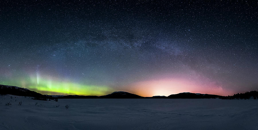 Milkyway Photograph - Milkyway vs Aurora and Citylights by Kolbein Svensson