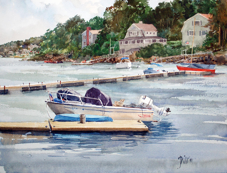 Peter Sit Watercolor Painting - Mill River Gloucester by Peter Sit