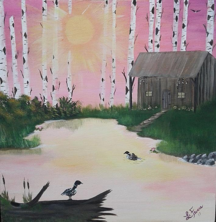 Loons Painting - Million Dollar View by Lori Lafevers