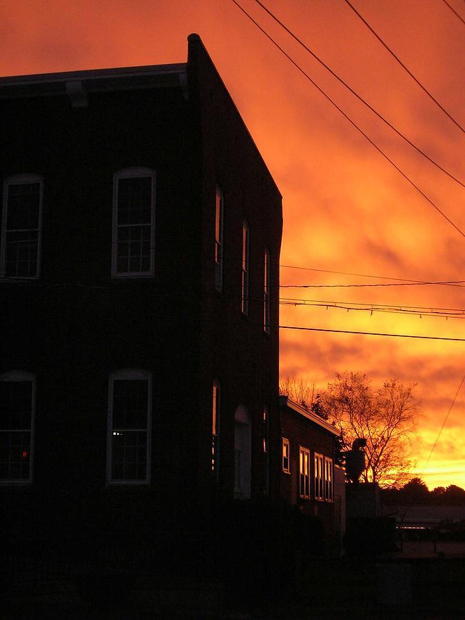Orange Sky Photograph - Millyard Sunset by Nancy Ferrier