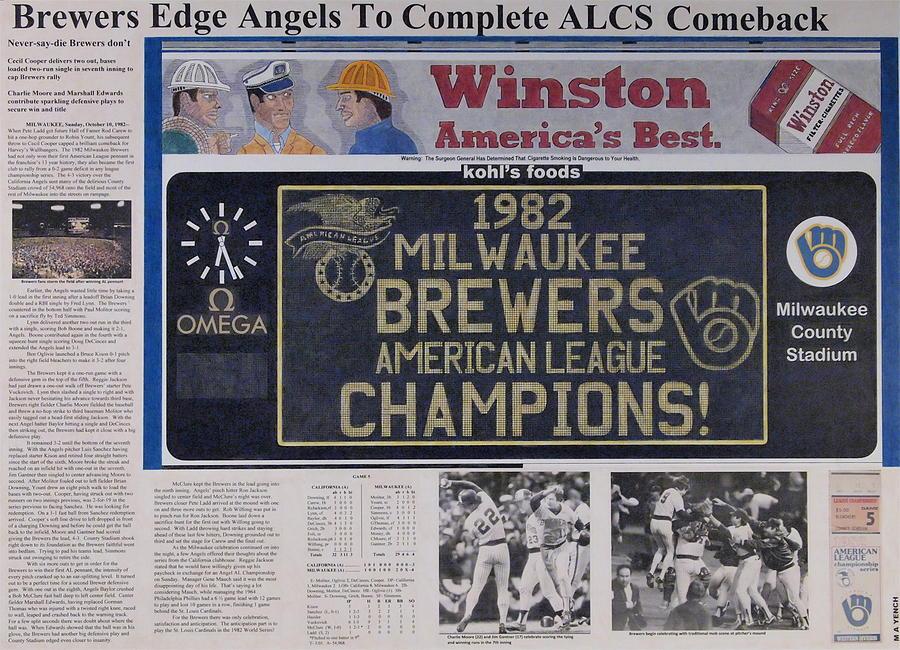 Major League Baseball Drawing - Milwaukee Brewers 1982 Al Pennant by Marc Yench