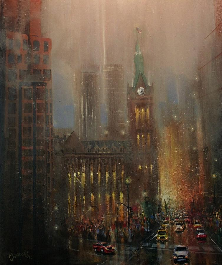 City At Night Painting - Milwaukee Rain by Tom Shropshire