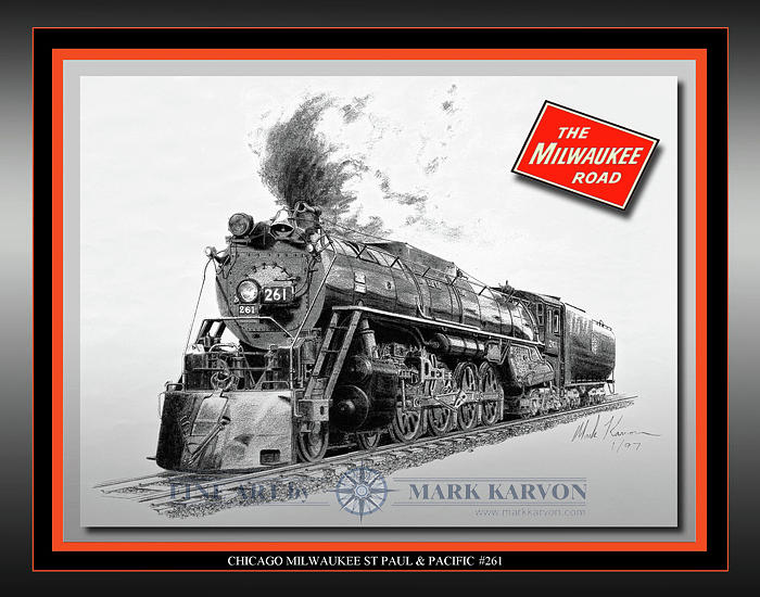 Railroad Drawing - Milwaukee Road 261 by Mark Karvon