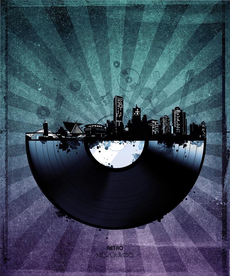 Milwaukee Digital Art - Milwaukee Skyline Vinyl 6 by Bekim M