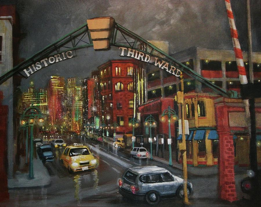 City At Night Painting - Milwaukees Historic Third Ward by Tom Shropshire