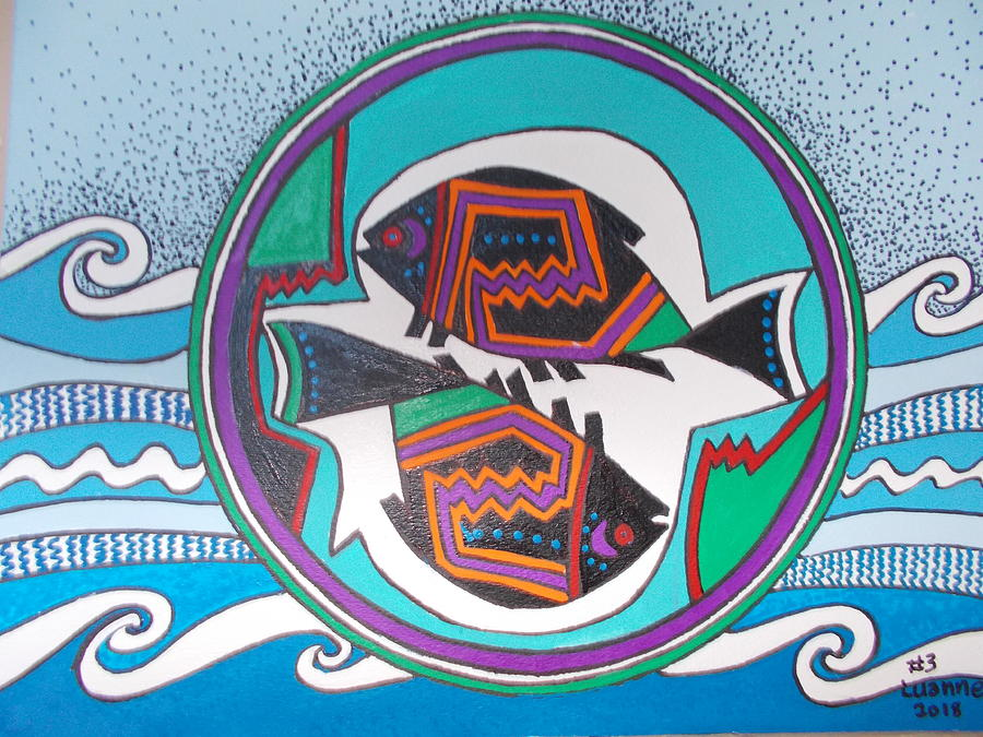 Mimbres Inspired #3a Painting by Luanne Brooten