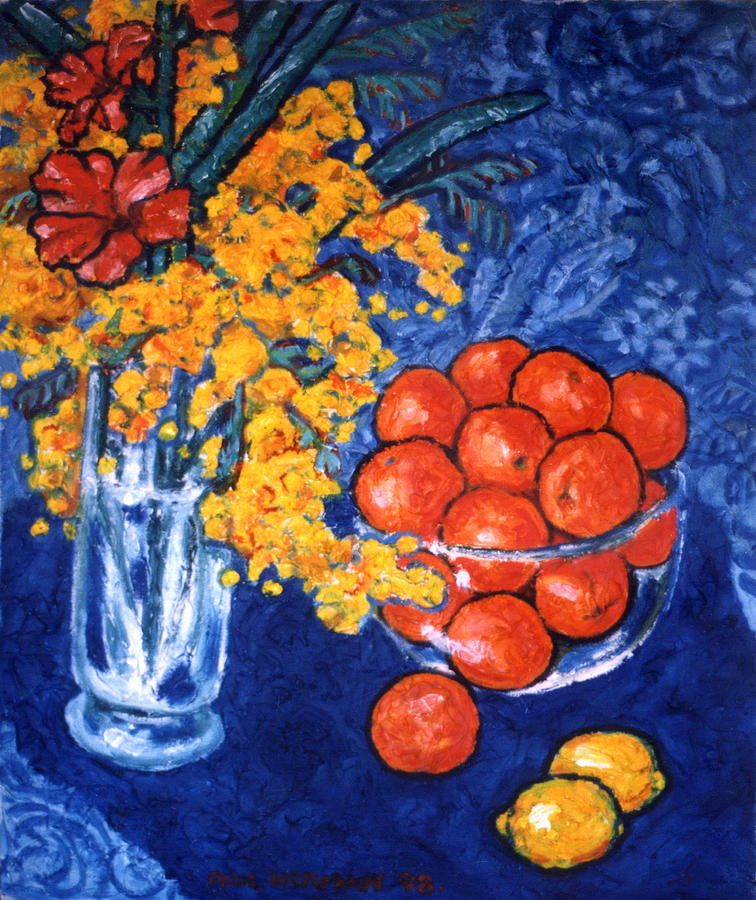 Still Life Painting - Mimosa And Tangerines by Paul Herman