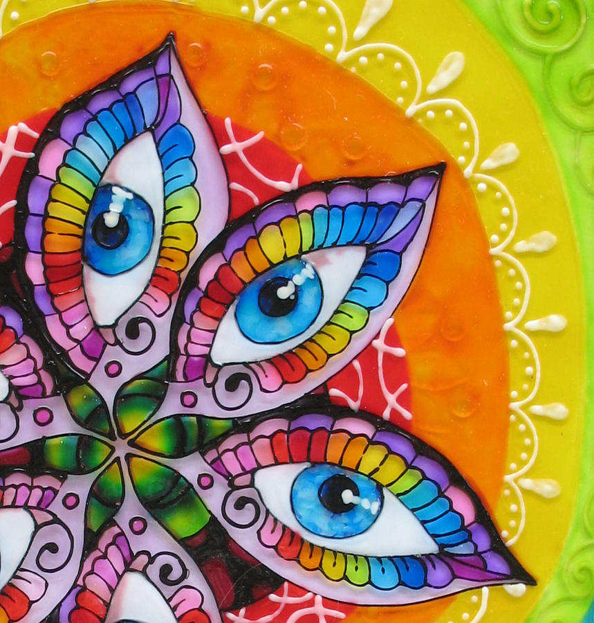 Glass Painting Painting - Mind Eyes - Detail by Gabriela Stavar