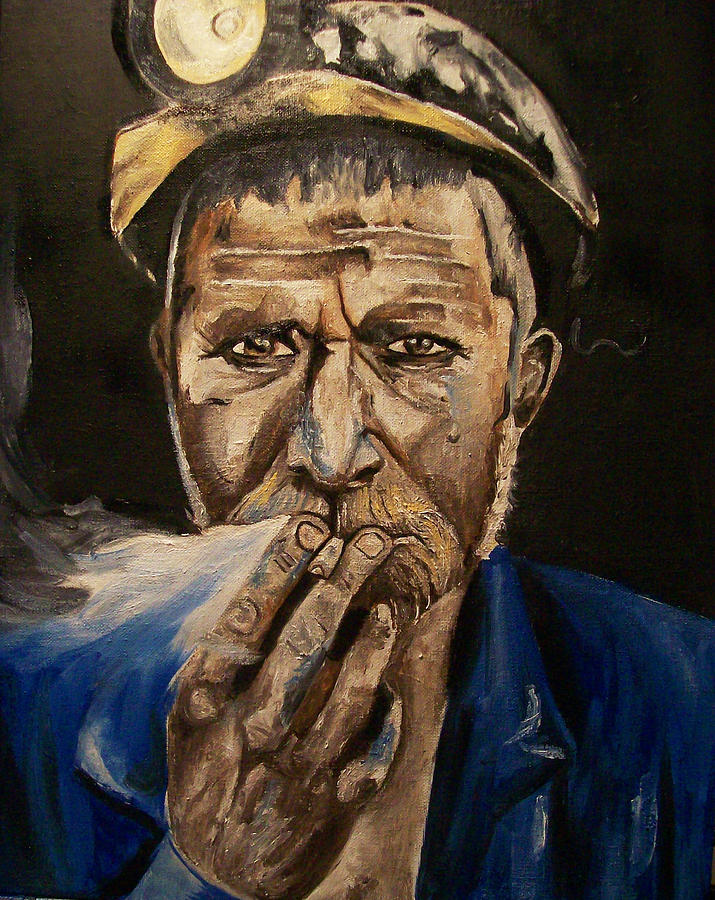 Coal Miner Painting - Miner Man by Mikayla Ziegler