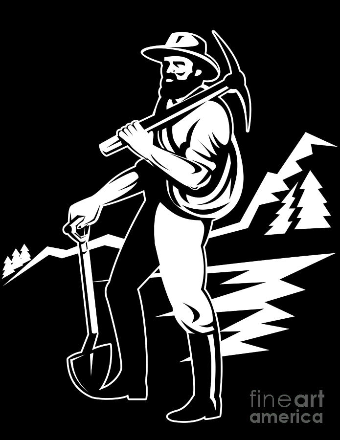 Illustration Digital Art - Miner With Pick Axe And Shovel  by Aloysius Patrimonio
