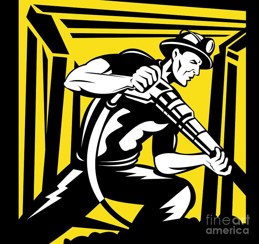 Illustration Digital Art - Miner With Pneumatic Drill  by Aloysius Patrimonio