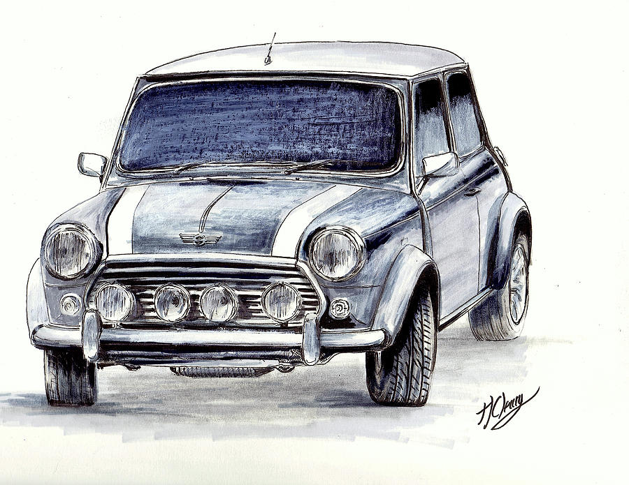 Mini Cooper Drawing Drawing By Terence John Cleary