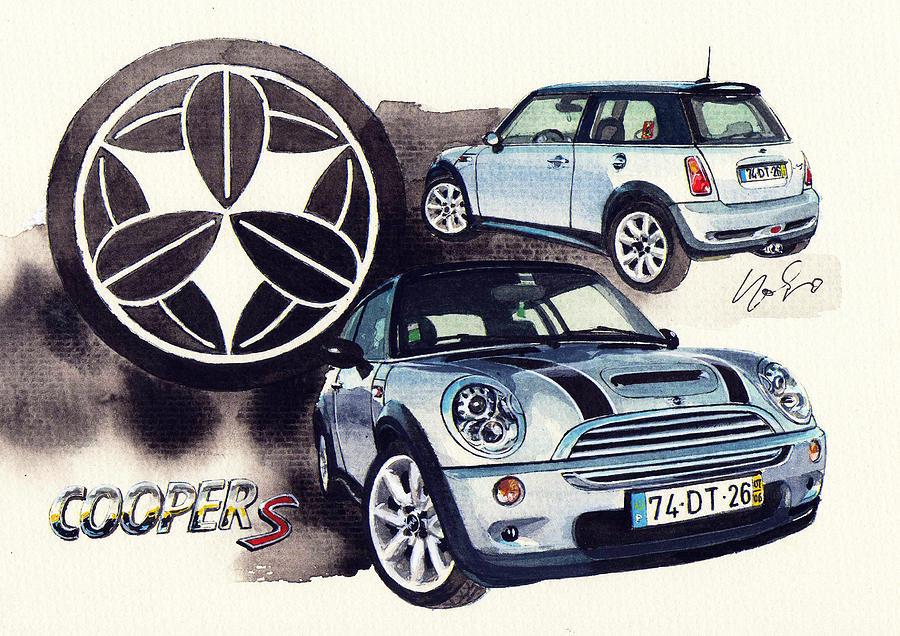 Mini Cooper S Supercharger Painting By Yoshiharu Miyakawa