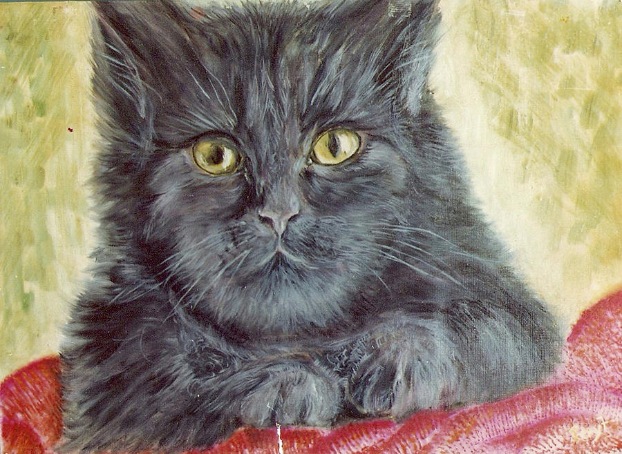 Cat Painting - Black Cat by Remy Francis