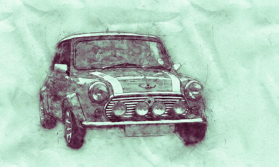 Mini Marque 3 - Bmw - 1959s - Automotive Art - Car Posters Mixed Media
