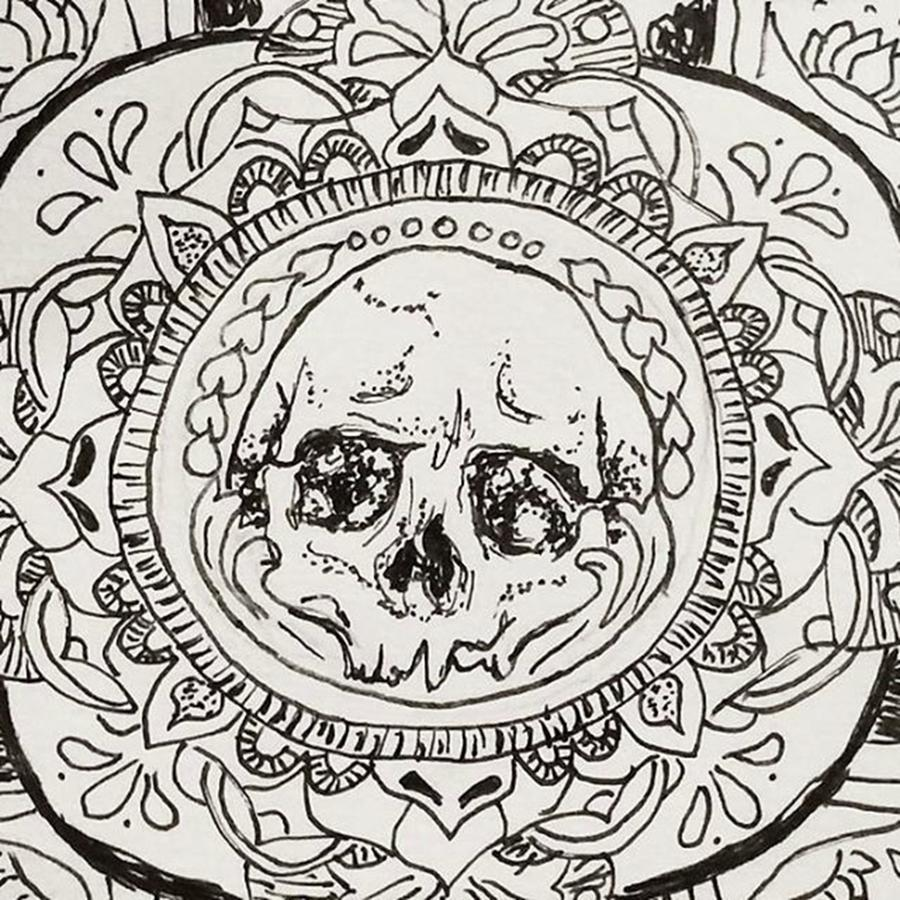 Pattern Drawing - Skull Mandala by Faithc Original Artwork