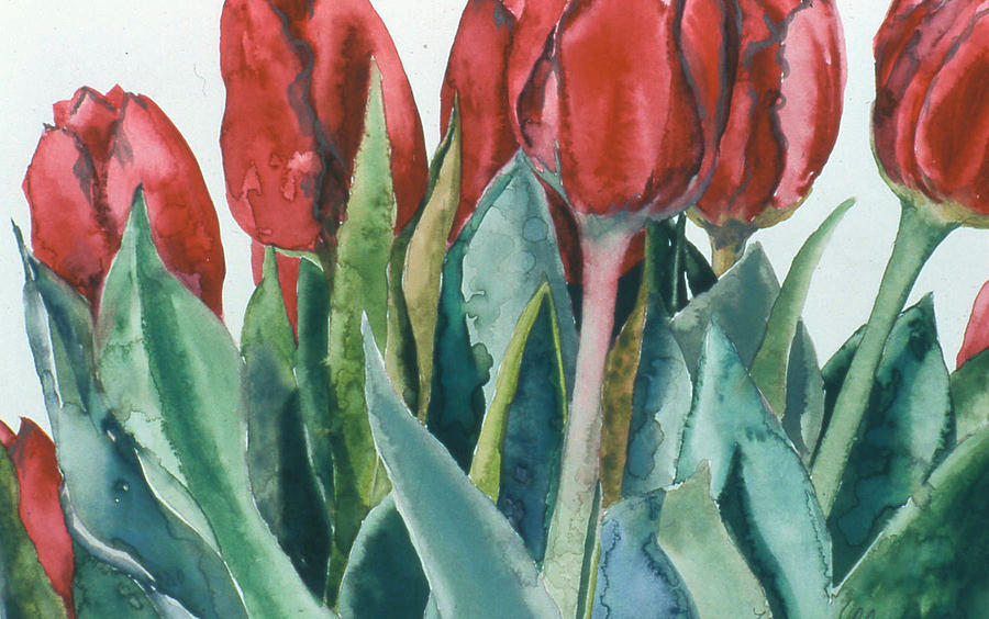 Floral Painting - Mini-valentine Tulips - 2 by Caron Sloan Zuger